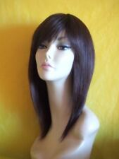 100% real human hair lady wig with skin top parting dark brown 4#