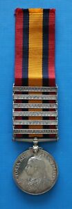 Queens South Africa Medal.  Pte. J. Sanderson.  6 Battle Clasps. Died of disease