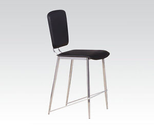 Modern Back Cushioned Design Counter Height Chair in Chrome & Black PU