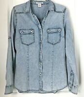 Dizzy Lizzy Womens L  Acid Washed Jean  dress shirt top Snap buttons Long Sleeve