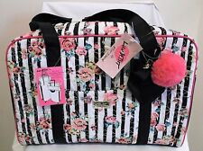 LUV BETSEY JOHNSON FLORAL STRIPE ROSES QUILTED WEEKENDER / DUFFLE / TOTE NWT