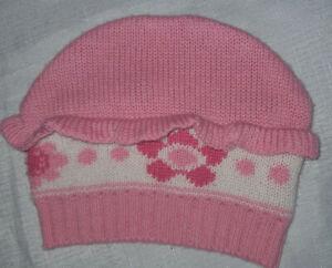 "size 00 Baby Hat Beanie ""Pumpkin Patch"" pink, white knit Bonnet NewBorn HeadWear"
