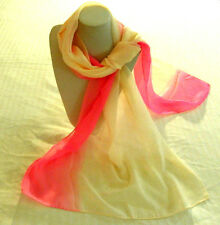 scarf pink cream color women girl long 2 tone soft wrap shawl stole 60 x 18 inch