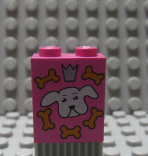 LEGO Pink Brick 1 x 2 x 2 Inside Axle Holder Print of Dog Bone Snack Treat Box