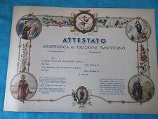 Attestato appartenenza al Terz'ordine Francescano - Favoloso in Cromolitografia