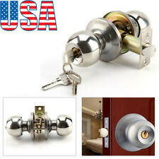 Stainless Steel Ball Door Knobs Handle Passage Entrance Lock Entry & 3 Key