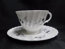 "Royal Doulton Millefleur, Gray & Blue Flowers: Cup & Saucer Set (s), 2 5/8"""
