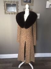 NWT Garfield & Marks Full Length Brown Cashmere Sweater Fox Fur Collar Size S