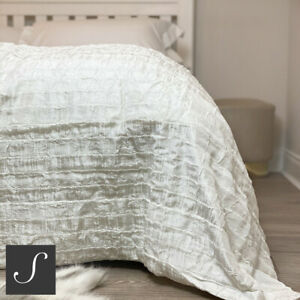Luxury Shimmering Cream Ivory Neutral Bed End Sofa Throw Bedspread Large Ruffled