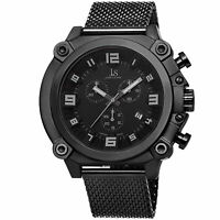 Men's Joshua & Sons JS58BK Swiss Chronograph Black Mesh Stainless Steel Watch
