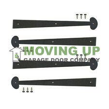 "Garage Door Decorative Hinges 16"" Colonial Black Set of 4 + Hardware"
