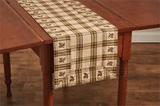 Primitive Country Pine Lodge Table Runner 13X36 Plaid Pinecone Cotton