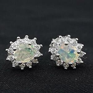 World Class .90ctw Opal & Diamond Cut White Sapphire 925 Silver Stud Earrings