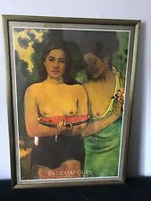 Paul Gauguin's Deux Tahitiennes Two Tahitian Women Gold Color Framed Poster