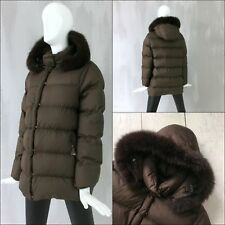 NEW Auth Moncler Ladies FOX FUR Hood Brown DOWN Puffer Coat Jacket Size 2 S M