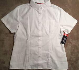 NWT French Toast School Uniform Short Sleeve Oxford Shirt White Size16 1/2 Plus