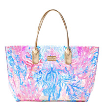 Lilly Pulitzer RARE Breezy Beach Tote Bag Clear Aquadesiac Gold Signature PVC Lg