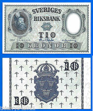 Sweden 10 Kronor 1957 UNC Sveriges Europe Bill Free Shipping Worldwide