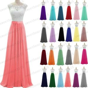 Long Chiffon White/Lace Evening Party Ball Gown Prom Bridesmaid Dress Size 6-28