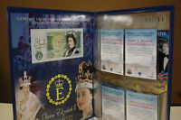 QUEEN ELIZABETH II Colorized BANK of ENGLAND 1 POUND NOTE & Card Set with Folio