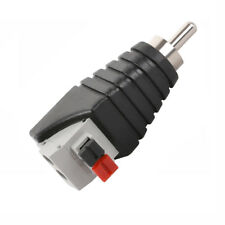 Speaker RCA Male to 2 Screw Terminal Strip AV Spring Press Type Connector Black