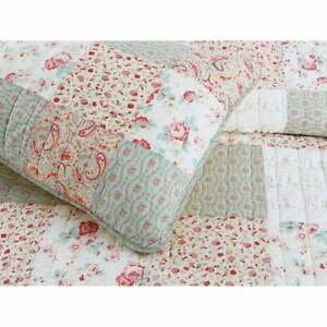 COZY CHIC COUNTRY SHABBY COTTAGE PINK RED GREEN LACE LILAC SAGE RUFFLE QUILT SET