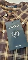 Izod Men's Button Down Shirt Sz XL Brown Plaid Sueded Poplin Cotton LS B12-26