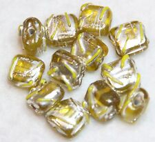 12 INDIAN FANCY LAMPWORK YELLOW SQUARE 8x8x5mm (BBB528)