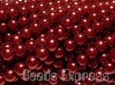 50 Glass Pearl Round Beads Burgundy Wine Red 8mm CR8020