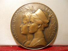 "1919 BELGIUM CAVELL DEPAGE NURSE Rare Medal "" 1915 Remember "" WWI"