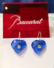 Baccarat A La Folie Crystal & Gold Heart Earrings sapphire - Orecchini NEW -