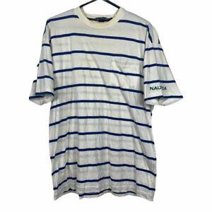 Nautica Striped Vintage T-Shirt Mens Size XL White Graphic Cotton Streetwear