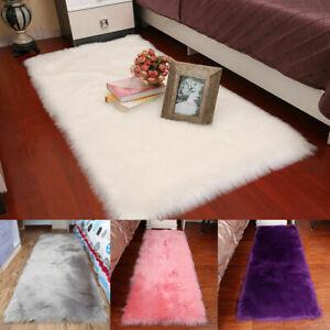 Faux Sheepskin Fur Rug Fluffy Mat Bedroom Carpet Room Living Rugs Washable