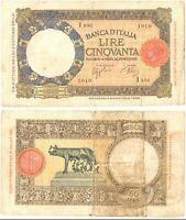1938 Italia Banconota Lire 50 Lupa Capitolina D.M. 21-10-1938 Molto Circolata