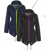 Womens Neon Zip Rain Mac Showerproof Raincoat Ladies Black Jacket Size 8 - 16