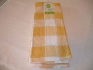 New! S/2 Yellow Check Farmhouse Kitchen Dish Towels Tea Terry Cotton Dish Towels