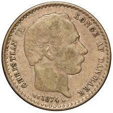 1874 Denmark 25 Ore Silver Coin - KM# 796.1 - NICE QUALITY