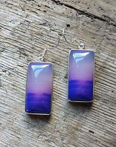 Purple Banded Agate  Genuine Sterling Silver 925 Earrings Blue Hook Fastening