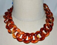 NWT SimplyVera Vera Wang Brown Faux Tortoise Shell Chain Link Necklace