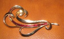 Vintage Marcel Boucher Red Stone Brooch Signed & Numbered 3383