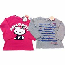 Hello Kitty Long Sleeved T Shirts Grey Cerise 3 4 5 6 8 10 12 14 6 Years Cerise