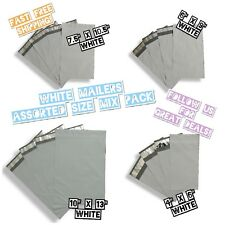 60 White Poly Mailers 4 Mix Size Variety Pack (15 ea)