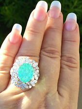18K GOLD 8.67 CT. GIA CERTIFIED UNHEATED NEON PARAIBA TOURMALINE DIAMOND RING!!