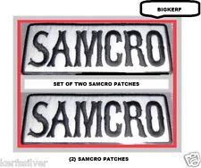 SET OF  {2}  SAMCRO   SONS OF ANARCHY   EMBROIDERED BIKER PATCHES - SEW OR IRON