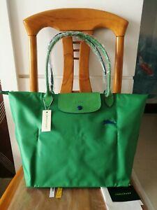 Longchamp New Le Pliage Nylon Tote Handbag GreenHorse Embroidery