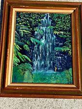 Antique HAWAII Water Falls NAKED HULA GIRL Taking A Bath Swim FOLK ART Painting