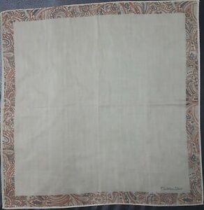 "Christian DiorPlain Paisley Vintage Brown Cotton Square Thin Handkerchief 18"""