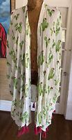 Kimono Cactus print one size fits all MUDPIE pink tassels trim BOHO CHIC