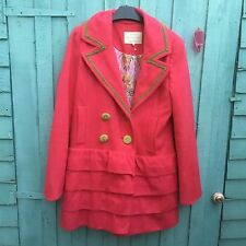 RIVER ISLAND BRIGHT PINK SIZE 12 COAT -JACKET OVER SIZED FRILLS AND BUTTONS NEW