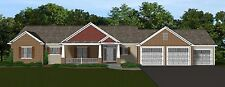 Custom Home House Plan 2.078 SF Ranch w/Basement Blueprint Plans #1354